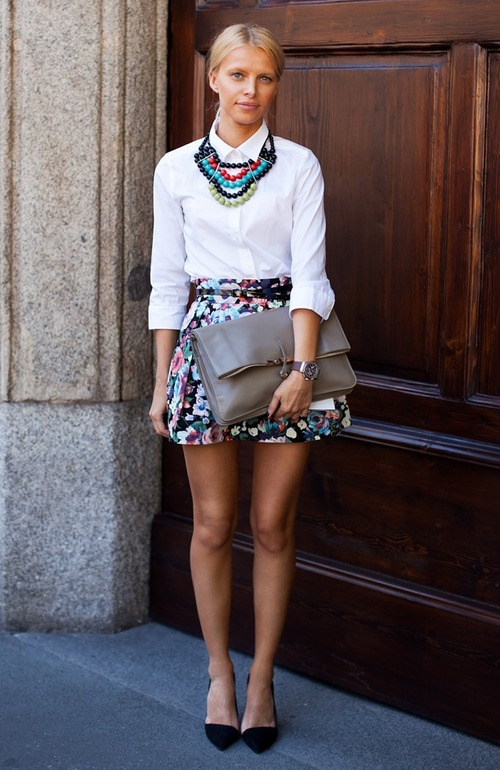 Statement-necklace-stockholm-street-style-multicolor-beads-fashion-week-zara-heels-floral-print-a-line-full-skirt-celine-clutch-button-up-white-shirt